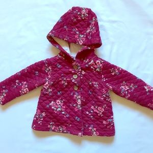 Floral quilted hood jacket